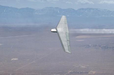 Létající křídlo v uspořádání pro nižší rychlosti (foto Northrop Grumman)
