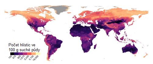 Mapa počtu hlístic ve 100 g suché půdy na základě pixelů o skutečné ploše zhruba jeden kilometr čtvereční (30 prostorových vteřin),  J. van den Hoogen et al., Soil nematode abundance and functional group composition at a global scale, Nature, volume 572, pages 194–198 (2019).