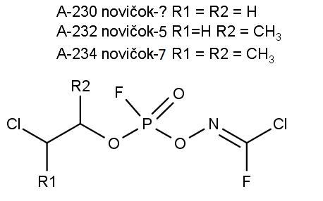 Chemická struktura nervově paralytických jedů A-230, A-232 a A-234. Ten otazník v popisu není chyba, původní sovětské označení tohoto typu novičoku neznáme.