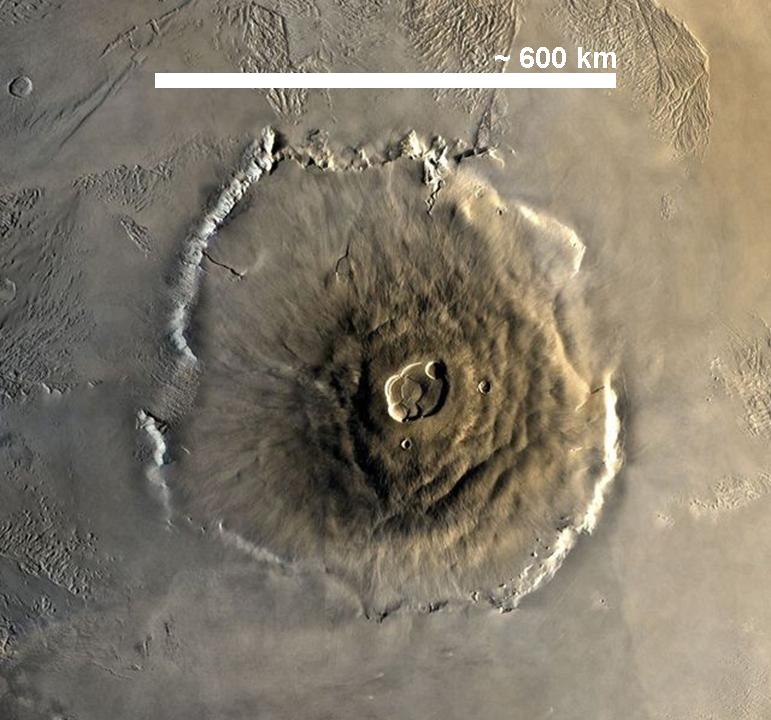 Mons Olympus, nevyšší hora Sluneční soustavy, je vyhaslá sopka, obr. Juan de Vojníkov, public domain, via Wikimeda Commons.
