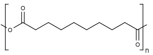 Chemická struktura polymeru anhydridu kyseliny sebakové.