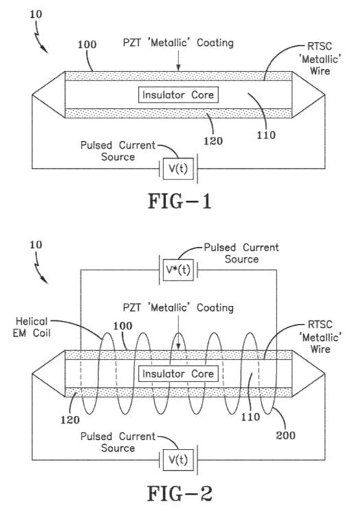 Obrázky z patentové přihlášky nového typu vysokoteplotního supravodiče, Patent č.US 2019/0058105 A1.