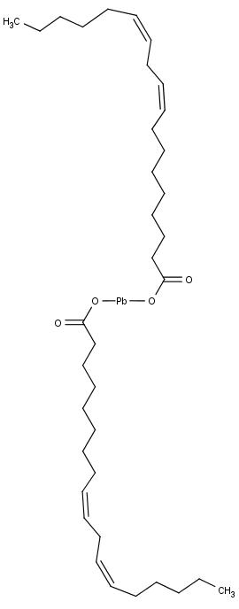 Chemická struktura jedné z možných molekul olovnatého mýdla, linolátu olovnatého.