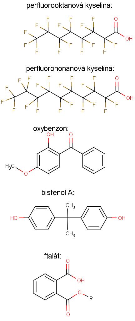 struktura látek zmíněných v aktualitě