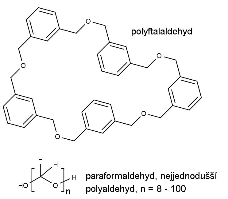 Nahoře jedna z mnoha možných struktur cyklické polyftalaldehydu, dole polyformaldehyd, nejjednodušší polyaldehyd.