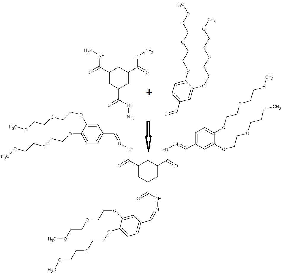 Struktura výchozích sloučenin, produktu a průběh reakce.