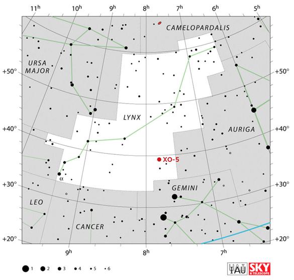Mapa souhvězdí Rysa s vyznačenou polohou hvězdy XO-5.