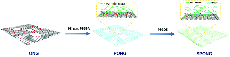 Schéma přípravy membrány  selektivní pro oxid uhličitý, upraveno podle  G.He et al., High-permeance polymer-functionalized single-layer graphene membranes that surpass the postcombustion carbon capture target, Energy Environ. Sci., 2019.