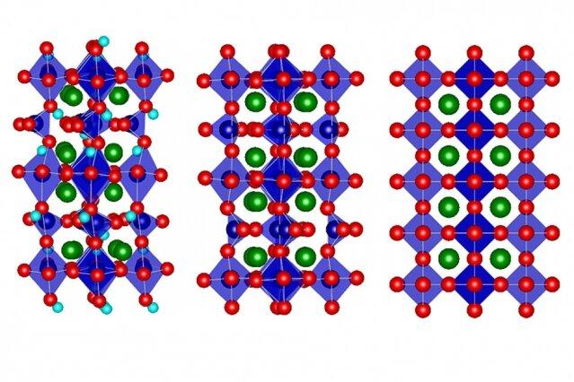 Uprostřed vidíme standardní krystalovou kosočtverečnou strukturu oxidu strontnato-kobaltitého, vpravo uspořádanější s dodanými kyslíkovými atomy, vlevo méně uspořádanou se zabudovanými atomy vodíku, obr.Lu, Q., Huberman, S., Zhang, H. et al. Bi-directional tuning of thermal transport in SrCoOx with electrochemically induced phase transitions. Nat. Mater. (2020).
