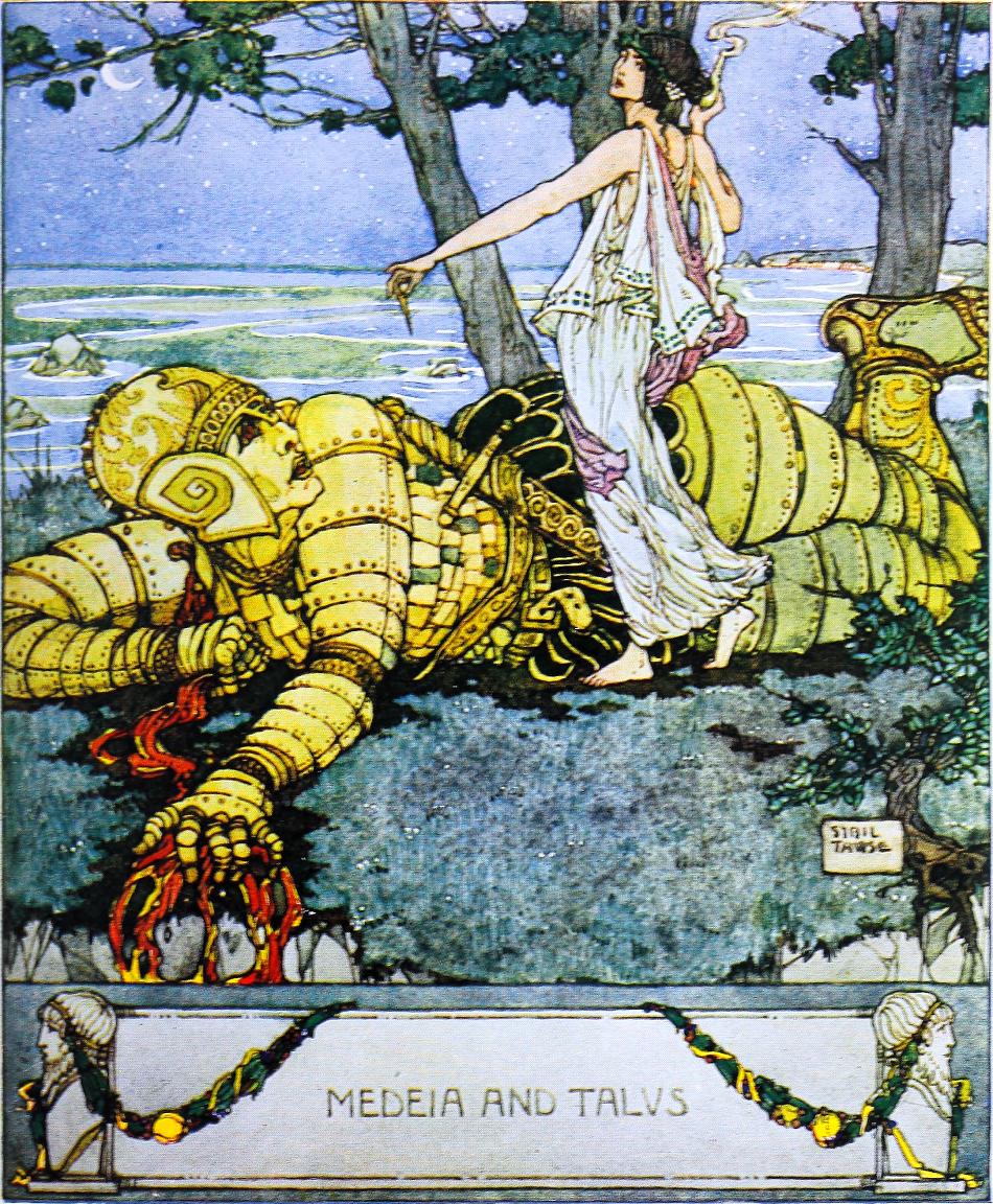 Talos, dle řecké mytologie gigantický bronzový robot nadaný umělou inteligencí, bránící Krétu, Bulfinch, Thomas, Public domain.