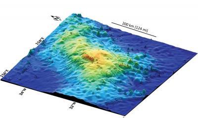 Náčrtek mořského dna se sopkou Tamu Massif, obr.Will Sager