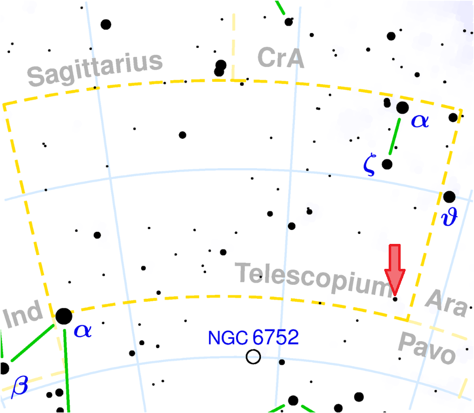 Souhvězdí Dalekohled (Telescopium) s vyznačenou polohou systému HR 6819, obr. Torsten Bronger, CC BY-SA 3.0, https://creativecommons.org/licenses/by-sa/3.0/deed.en, https://commons.wikimedia.org/wiki/File:Telescopium_constellation_map.png.