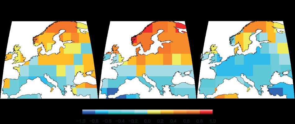 Korelace mezi teplotou a vlhkostí v létě podle meteorologických záznamů (vlevo), dendrochronologie (uprostřed) a klimatických modelů (vpravo). Čím výraznější červená, tím větší korelace, čím výraznější modrá, tím menší korelace, obr. Ljungqvist, F.C. et al.,  Summer temperature and drought co-variability across Europe since 850 CE. Environmental Research Letters, 2019, 14: 084015, CC BY 3.0, https://creativecommons.org/licenses/by/3.0/.