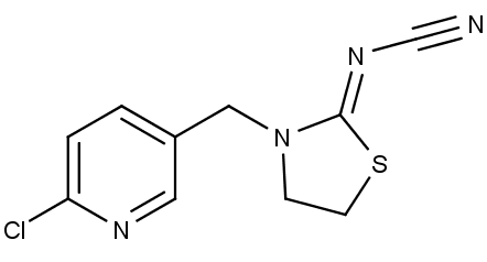 Chemická struktura insekticidu thiaklopridu.
