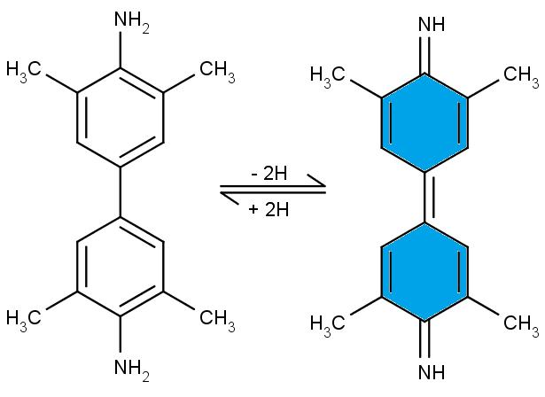 Vlevo bezbarvá forma 3,3',5,5'-tetramethybenzidinu, vlevo jeho modrá, oxidovaná.