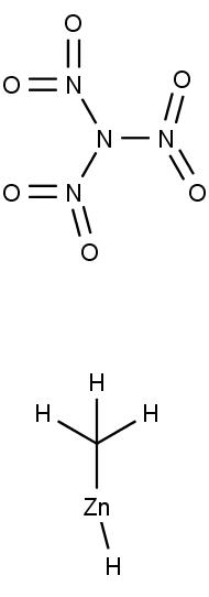 struktura trinitroamidu (nahoře) a methylhydriduzinečnatého (dole)