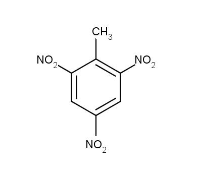 Struktura TNT (2-methyl-1,3,5-trinitrobenzen), nejběžnější trhaviny