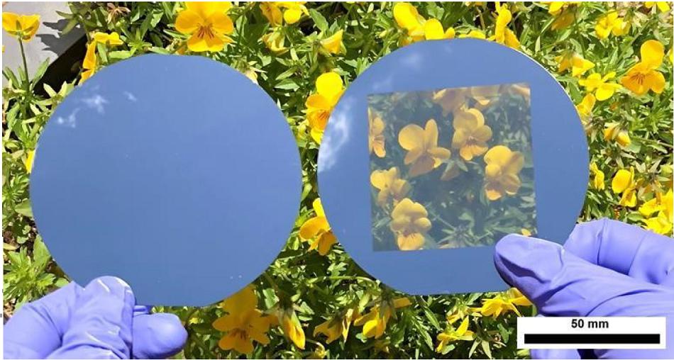 Vlevo standardní křemíková destička o síle 200 mikrometrů, vpravo s otvory, foto Ulsan National Institute of Science/2019 Elsevier Inc.