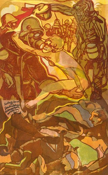 Dřevoryt Josefa Váchala Otravný plyn inspirován zážitky z 1.světové války.