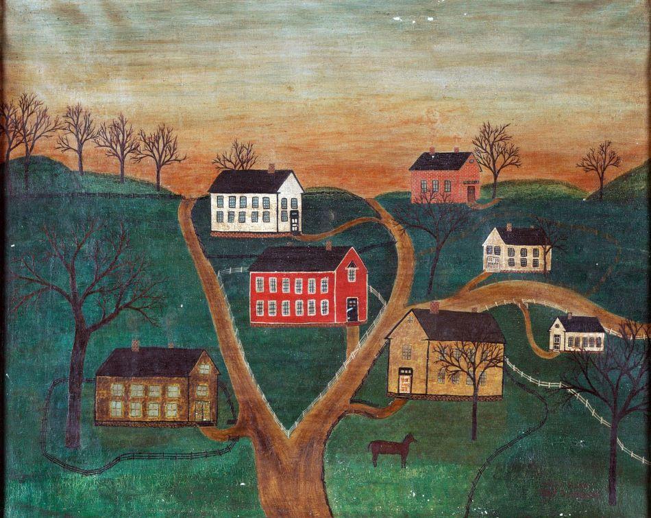 """Obraz """"Vesnická krajina s koněm a továrnou Honn  & spol"""" (Village Scene with Horse and Honn & Company Factory) podepsaný a datovaný """"Sarah Honn May 5, 1866 AD"""", foto James Hamm, je ve skutečnosti padělek z 20.století."""