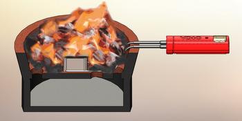 Schéma fungování palivového článku Voto. Vpravo červený akumulátor tvoří rukojeť, uvnitř ohně vlastní palivový článek. Obr.Point Source Power, Inc.